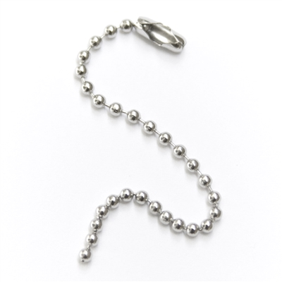 "Ball Chain Necklace Nickel Plated 4"", 2.4mm beads"