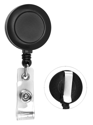 ROUND RETRACTABLE ID BADGE REEL WITH PVC STRAP & BELT CLIP - PLAIN