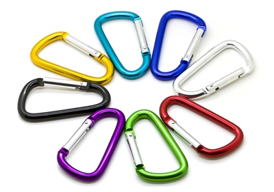 "3"" Carabiner Clip Key Chain Blue Black Silver Teal"