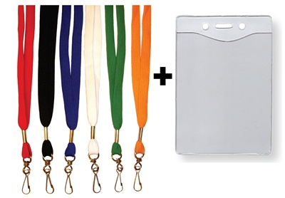 "1/2"" FLAT LANYARD & BADGE HOLDER COMBO"