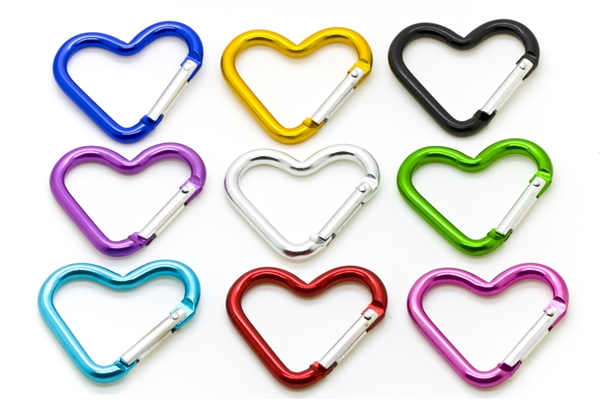 "1.75"" Heart Shaped Carabiner Clip Key Chain"