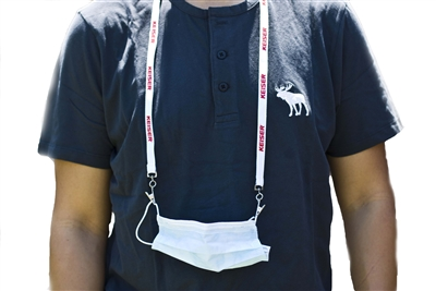 "1/2"" Wide Double Clip Face Mask Screen Print Lanyard"