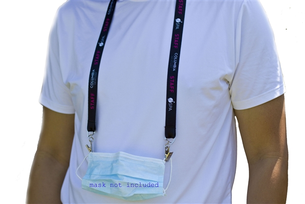 "3/4"" Wide Double Clip Face Mask Full Color Lanyard"