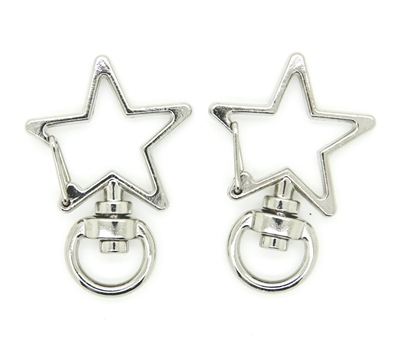 "Metal Star Lobster Swivel Clasp 1.375"" (35mm) size - Silver"